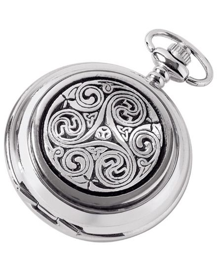 'Celtic Swirl' Quartz Pocket Watch with Chain